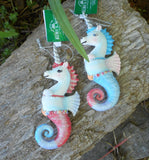 Kurt Adler Unicorn Seahorses Christmas Holiday Ornaments Set of 2 Red and Blue