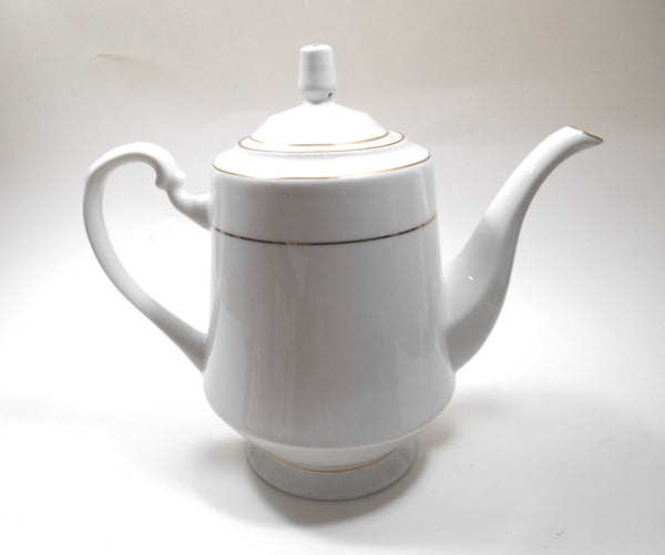 Royal Majestic Fine China White with Gold Stripe Porcelain Teapot  Sango