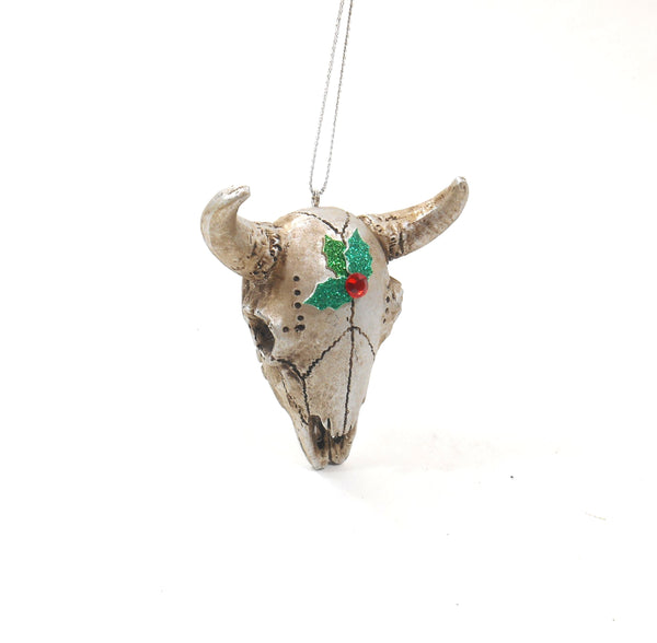 Midwest Texas Christmas Steer Skull Ornament