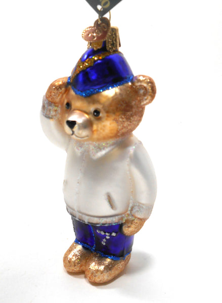 Veteran Bear Old World Christmas Glass Ornament