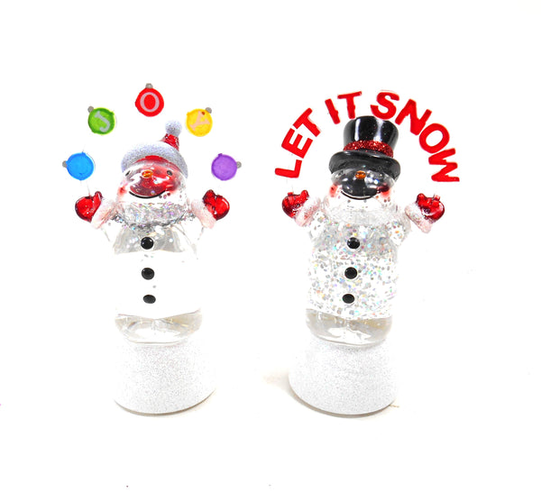 Midwest-CBK Let is Snow and Joy Snowman Shimmer Light Set of 2
