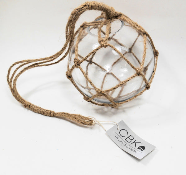Midwest-CBK Nautical Jute Tied Glass Buoy Ornament Beach Decor