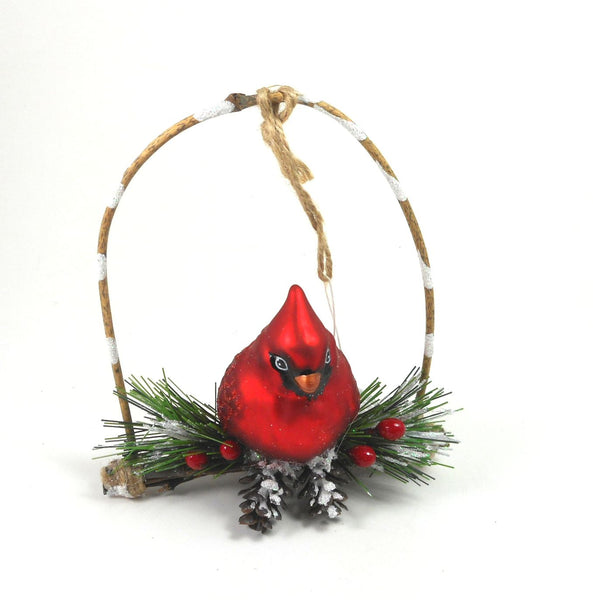 Red Cardinal on a Branch Hand Blown Glass Ornament g2 72150