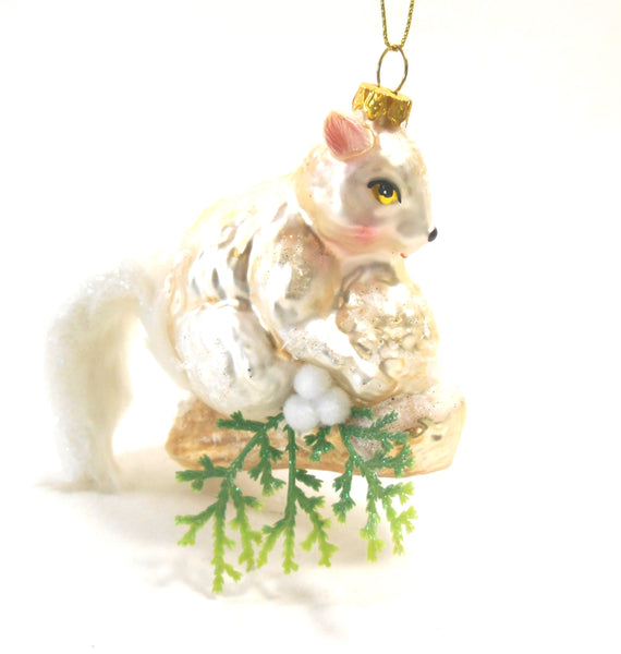 Demdaco Glass Squirrel With White Tail Ornament