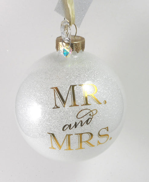 Mr and Mrs Glass Ball Ornament by Demdaco