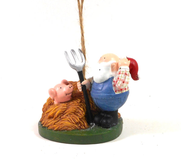 Santa Farmer with Pig in a Pile of Straw Ornament in Resin by Cape Shore