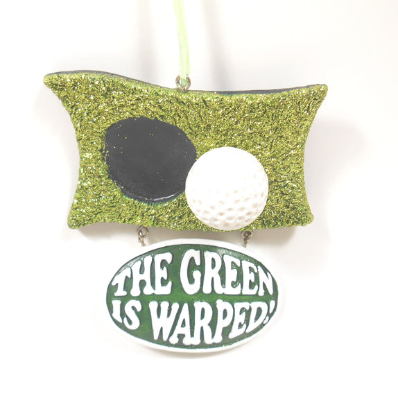 Midwest-CBK Warped Green and Golf Ball Ornament Golfing