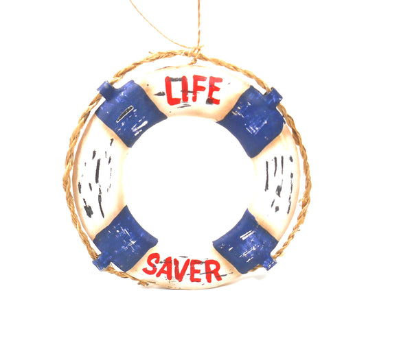 Gallarie II Tin Red White and Blue Life Saver Ornament Sag Harbor