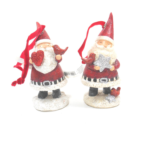 Silvestri Santa with Heart and Star Ornaments Set of 2