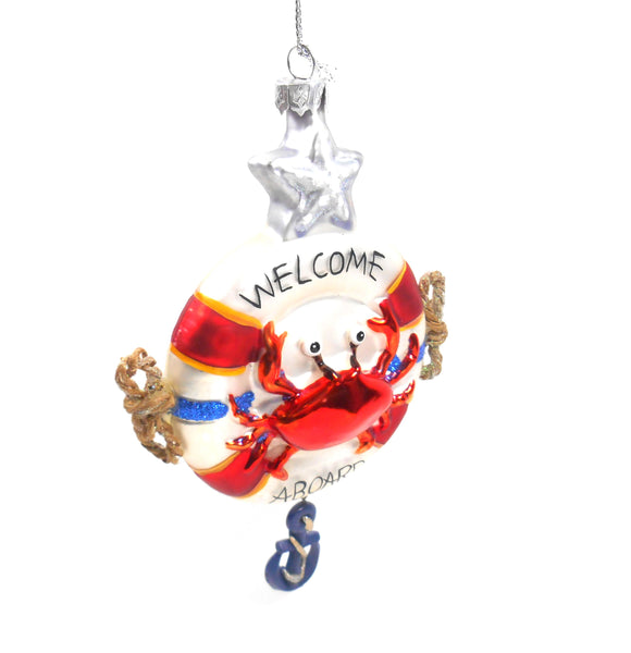 Gallarie II Crab on a Life Save Welcome Aboard Boating Glass Ornament