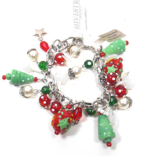Silvestri Christmas Charm Bracelet with Glass Charms by Silvestri Demdaco For Women