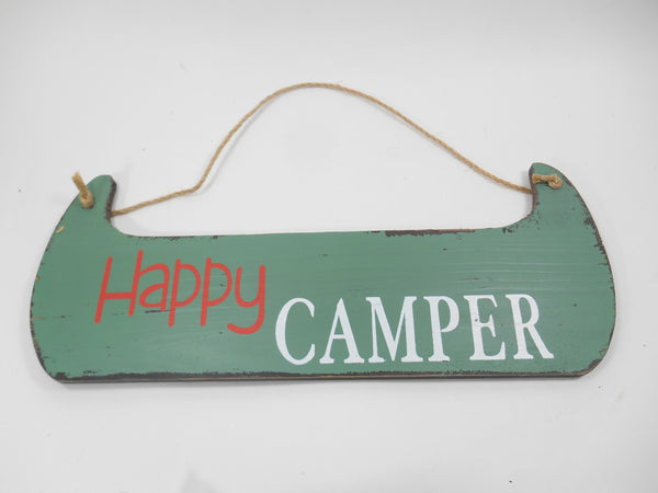Happy Camper Wood Green Canoe Wall Sign