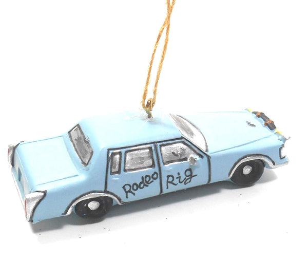 Montana Lifestyles Blue Rodeo Rig Car with Horns Ornament