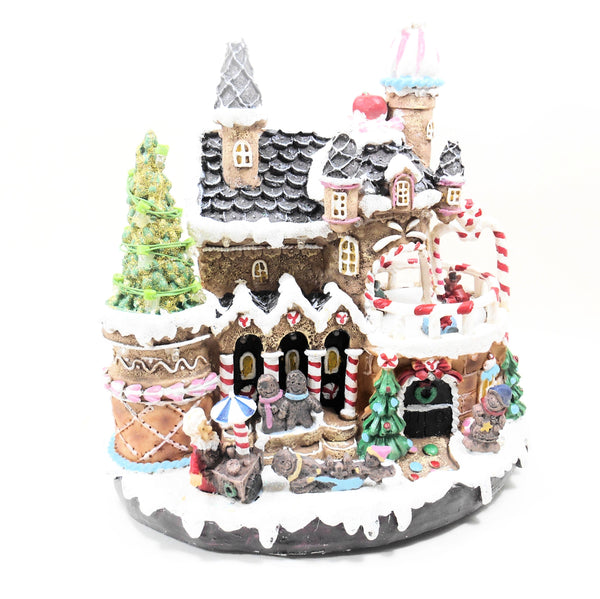Gerson International LED Lighted Gingerbread Castle with Moving Skaters 9.45 Inches