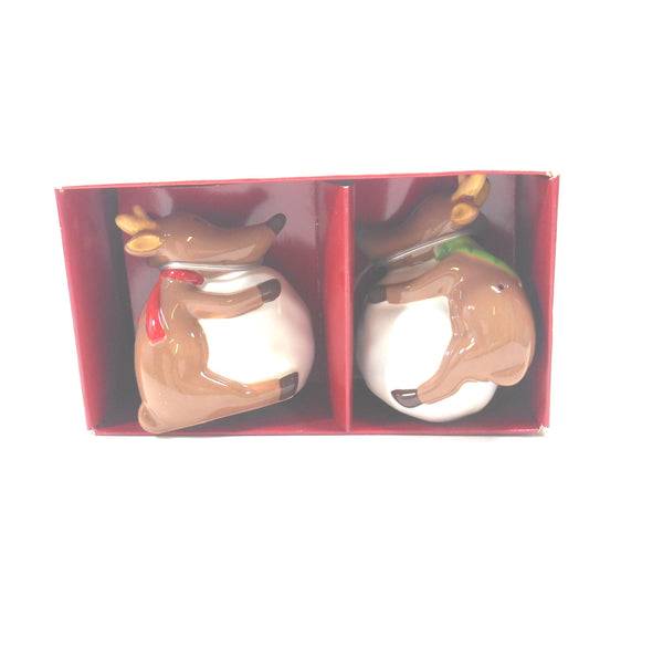 St Nicholas Square Reindeer Games Salt and Pepper Shakers Set