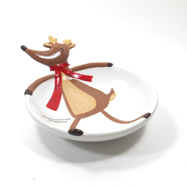 St Nicholas Square Reindeer Games Ceramic Open Candy Dish
