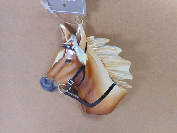 Tan Metal Horse Head Christmas Ornament