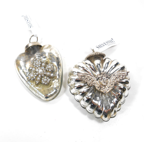 Silvestri Silver Decorated Glass Heart Kuegel Ornaments Set of 2