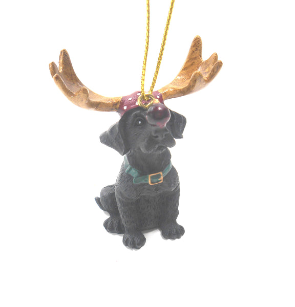Big Sky Carvers Black Lab Santa's Little Helper Reindeer Antlers Ornament