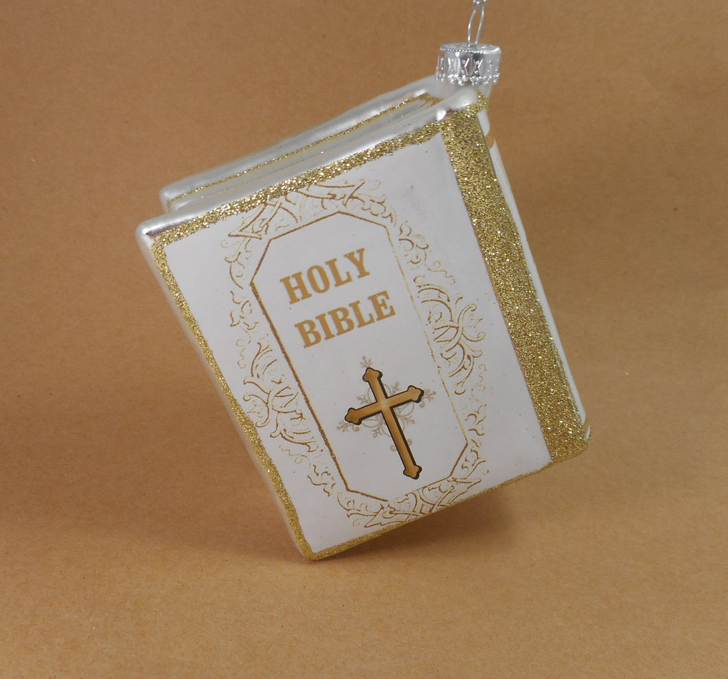 White Holy Bible  Glass Ornament by Midwest-CBK