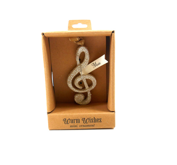 Silvestri Mini Glitter Treble Clef MUSIC Ornament