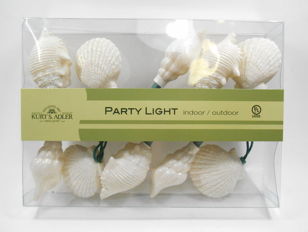 White Seashell Party Lights for indoor or outdoors by Kurt Adler