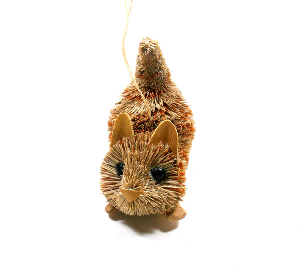 Silver Tree Sisal Orange Tabby Cat Crouching Ornament