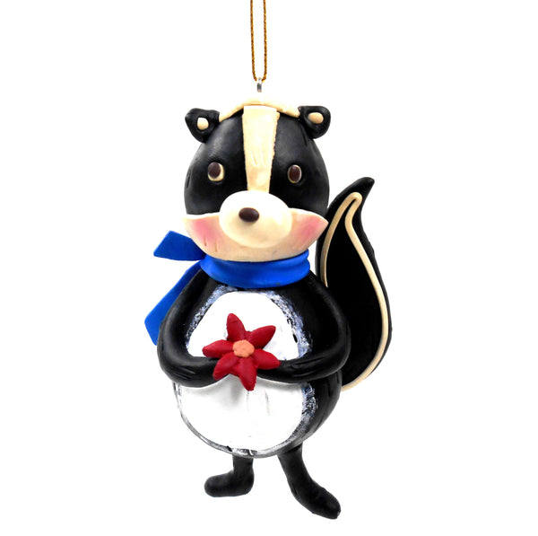 4 5/8 Inch Black and White Clay Skunk Christmas Ornament by Midwest