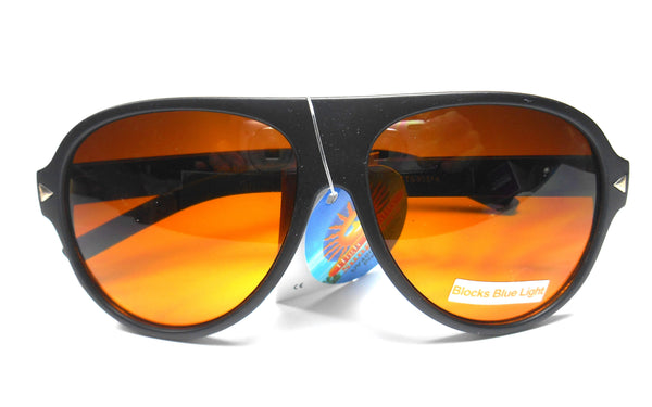 CTS Blue Blocking Matte Black Plastic Frame Aviator Sunglasses