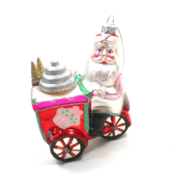 Department 56 GLASS Santa with Ice Cream Cart Ornament