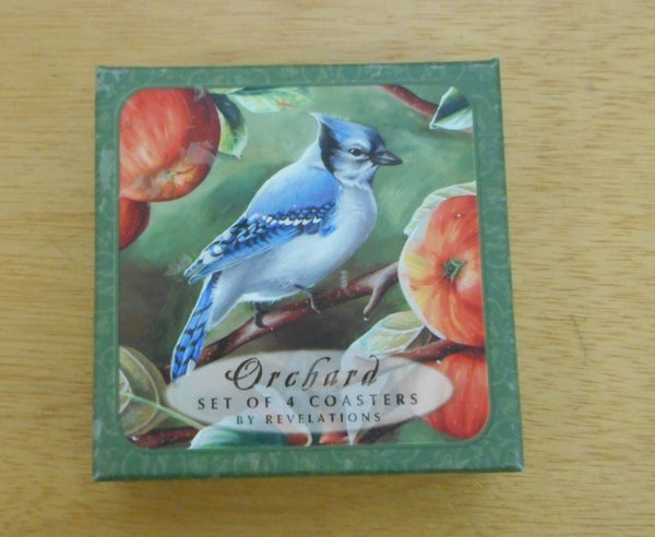 Orchard Blue Jay with Apples Coaster Set