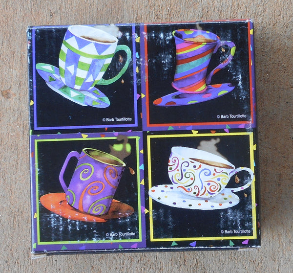 "Glass Square Coasters  ""Latte"" By Barb Tourtillotte"