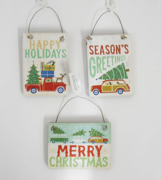 Christmas Camping Sign Ornaments set of 3