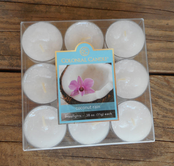Colonial Candle COCONUT RAIN tealights 9 count in box