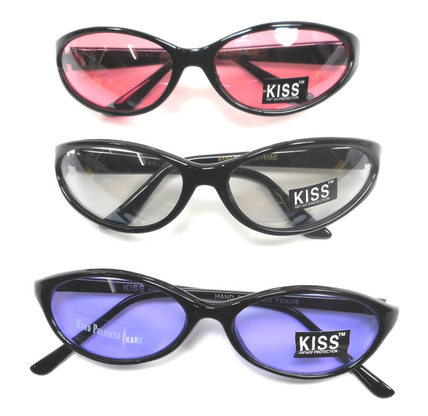 Kiss Womens Black Plastic Hand polished Fashion Skinny Sunglasses Lot of 3 Pair