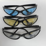 3 Pair Colored Lens Kiss Womens Black Plastic Hand polished Skinny Sunglasses