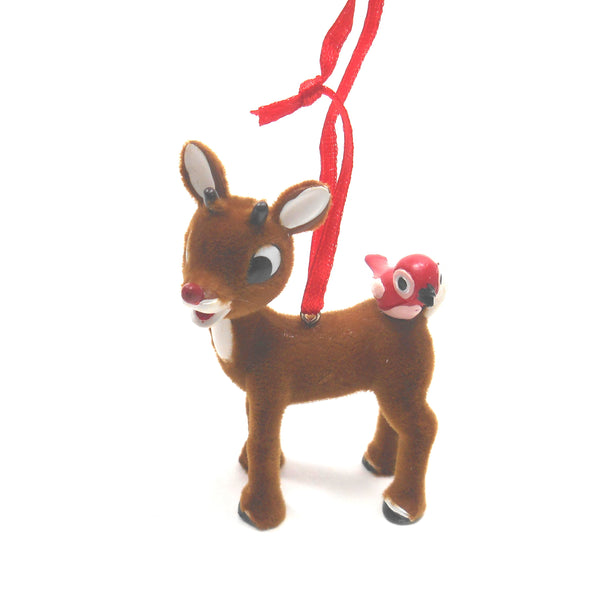 Rudolph the Red Nosed Reindeer with Red Bird Ornament