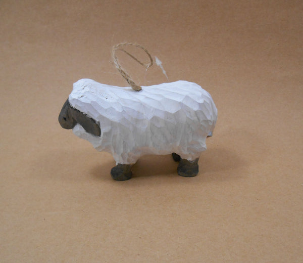 Gallarie II Black Faced White Wooden Sheep Ornament