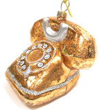 Golden Dial Telephone Glass Ornament by Silver Tree