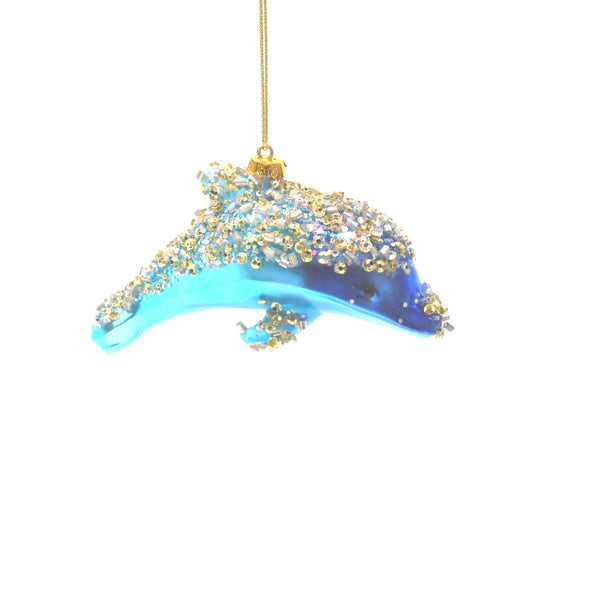 Glass Bead Encrusted DOLPHIN Ornament by Midwest-CBK