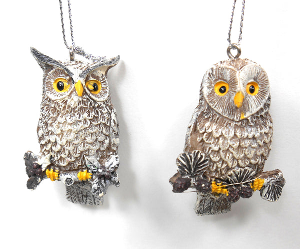 Mini Taupe and Glitter Roosting Hoot Owl Ornament Set by Silver Tree