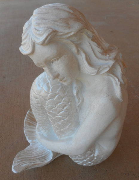 Thoughtful Mermaid Hugging Her Tail Figurine Table or Shelf Decor