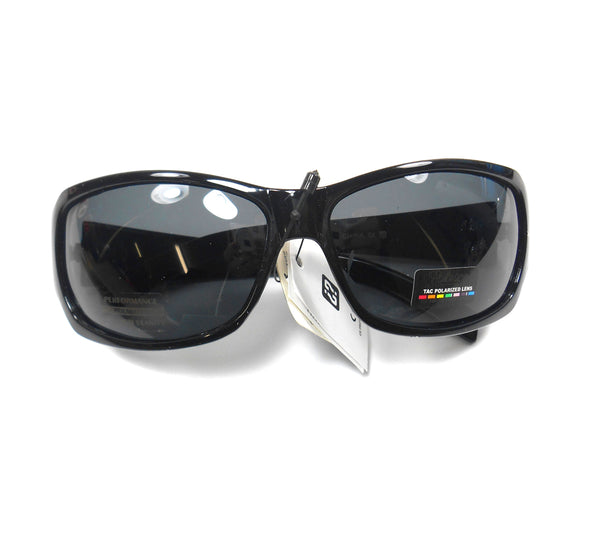 Polarspex Mens Wrap Polarized Plastic Black Driving Glasses
