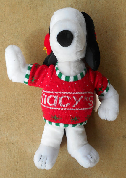 Vintage Jumbo Plush Snoopy in Macy's Knit Sweater Peanuts Dog Woodstock