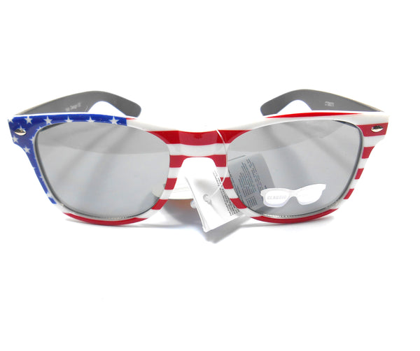 Unisex USA Plastic Red White and Blue Flag Sunglasses