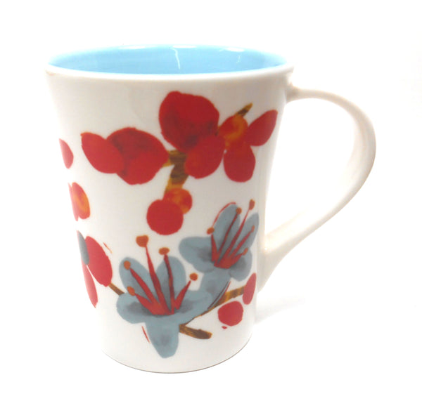 2008 Starbucks Red and Blue Flowers Coffee Mug 12 fl oz