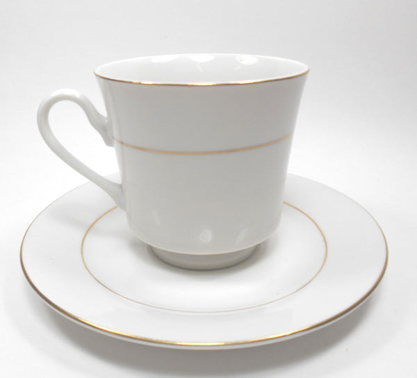 Royal Majestic Fine China White with Gold Stripe Porcelain Tea cup & Saucer Sango