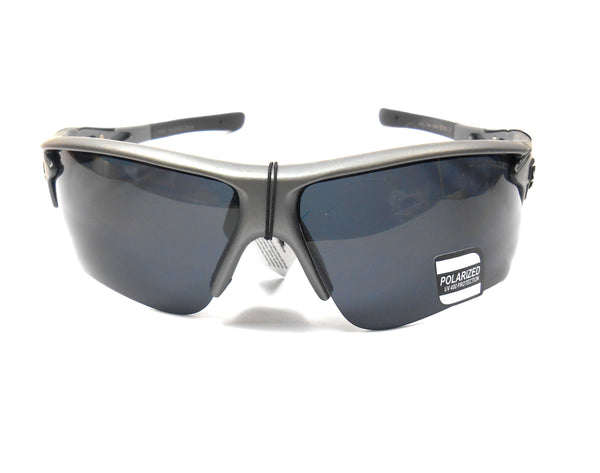 Mens Grey Khan Plastic Sport Sunglasses with Polarized Lens