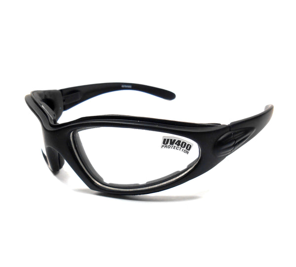 Black Vented Motorcycle Goggles Clear Lens