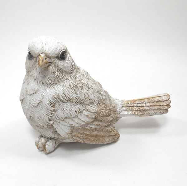 "Cubby White Decor Bird 3.25"" High"